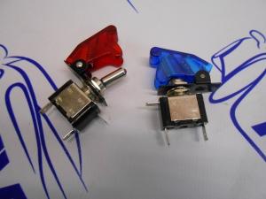 Тумблер с крышкой и светодиодом (синий/красный)