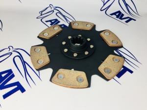 Диск сцепления для а/м ВАЗ 2101-07 под КПП Getrag (BMW) металлокерамический без демпфера (4 лепестка) 215мм