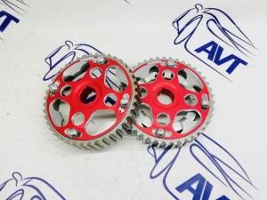 Шестерни разрезные ГРМ 16V Приора (ал. ступица)  с маркерным диском СПОРТ (красные)
