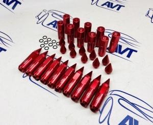 Колесные гайки Blox, удлиненные с острием М12х1,25, красные