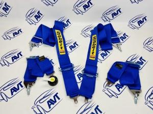 Ремни безопасности Sabelt style 4-х точечные быстросъемные (синие)